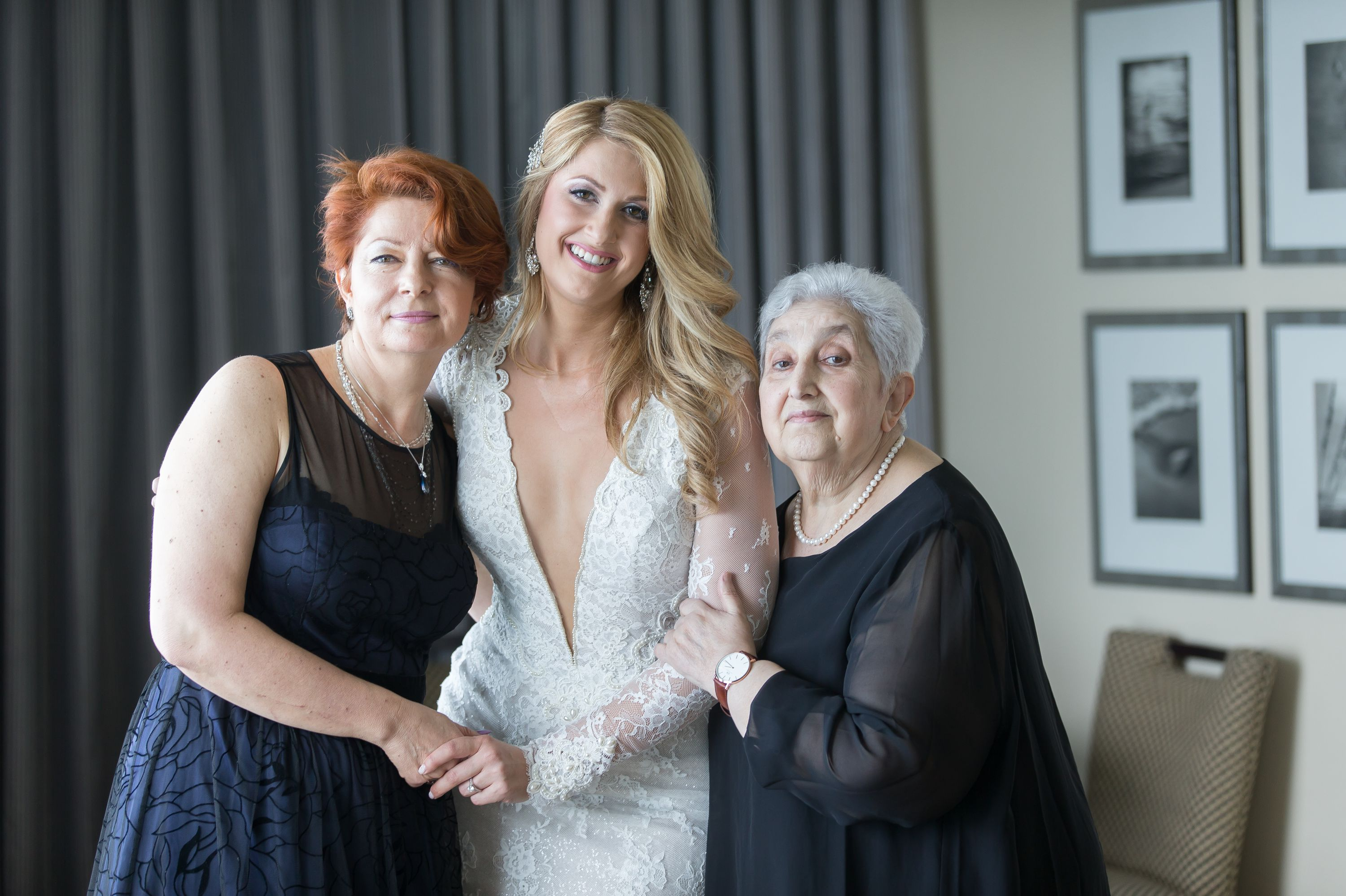 A styled portrait of bride, mom and grandmother on the Wedding Day at the Diplomat Beach Resort Wedding