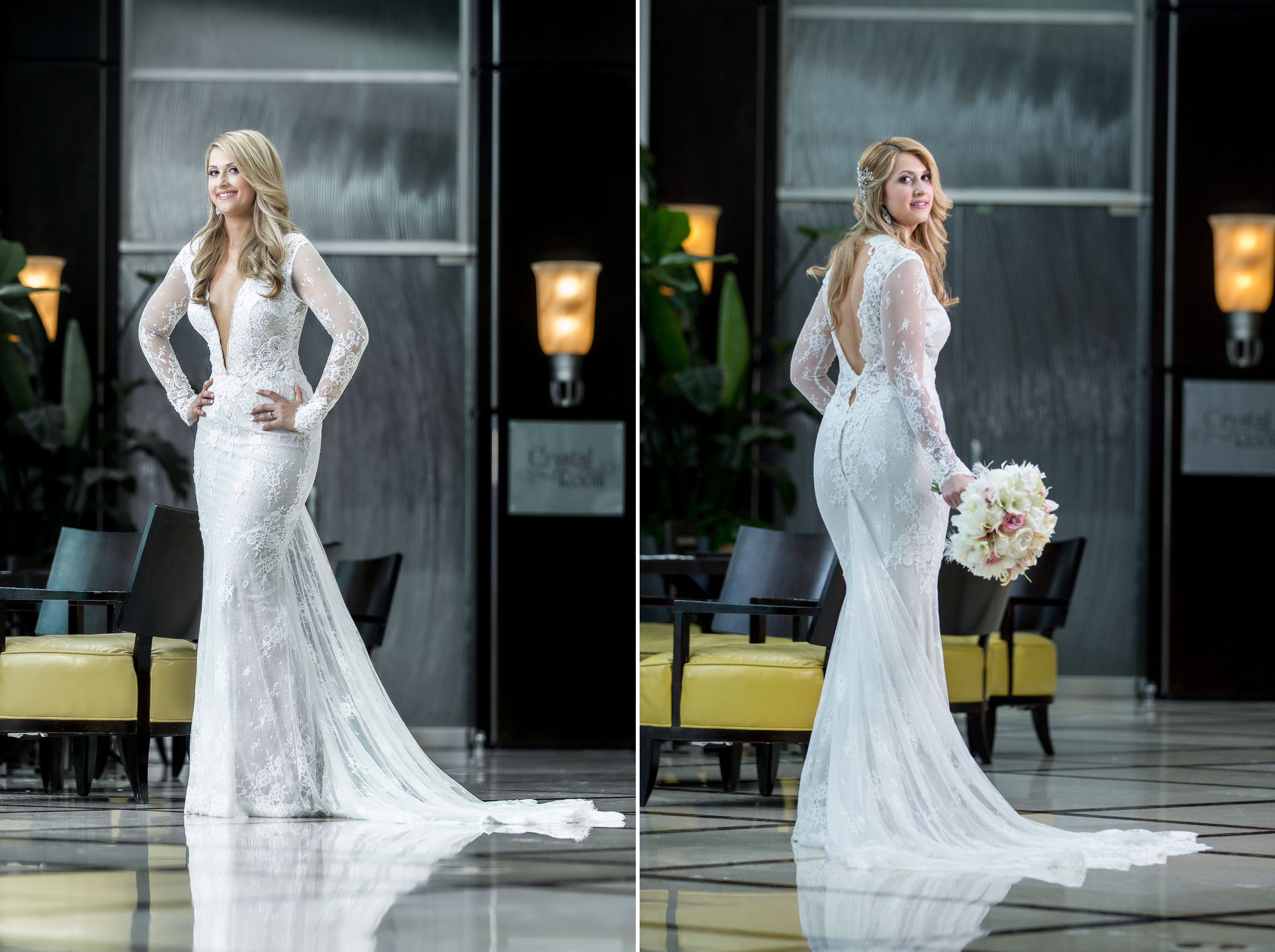 Bride posing with Berta Wedding Dress during a real Diplomat Beach Resort Wedding