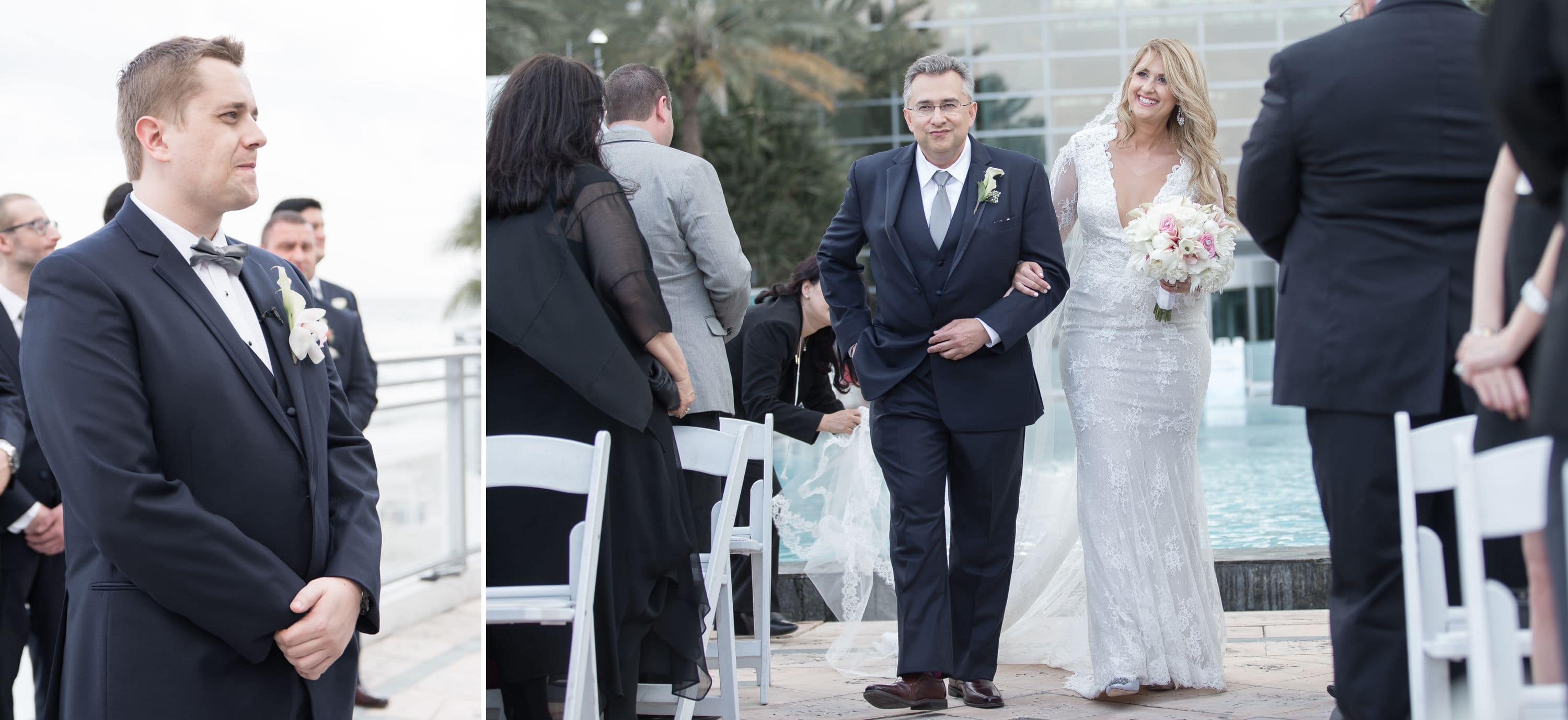 Bride comes down the isle and grooms reaction at this Diplomat Beach Resort Wedding
