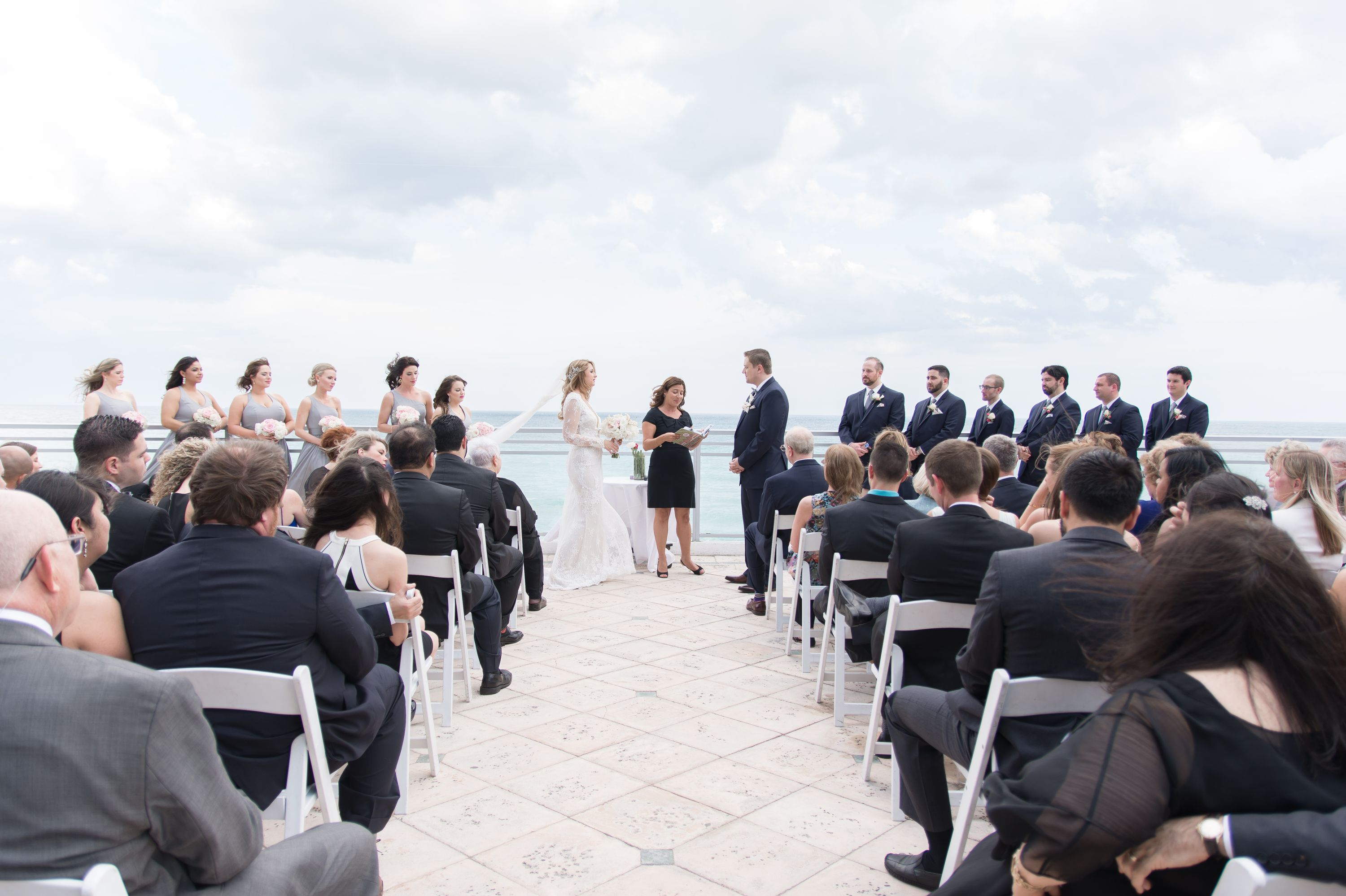 Full shot of wedding party at a Diplomat Beach Resort Wedding