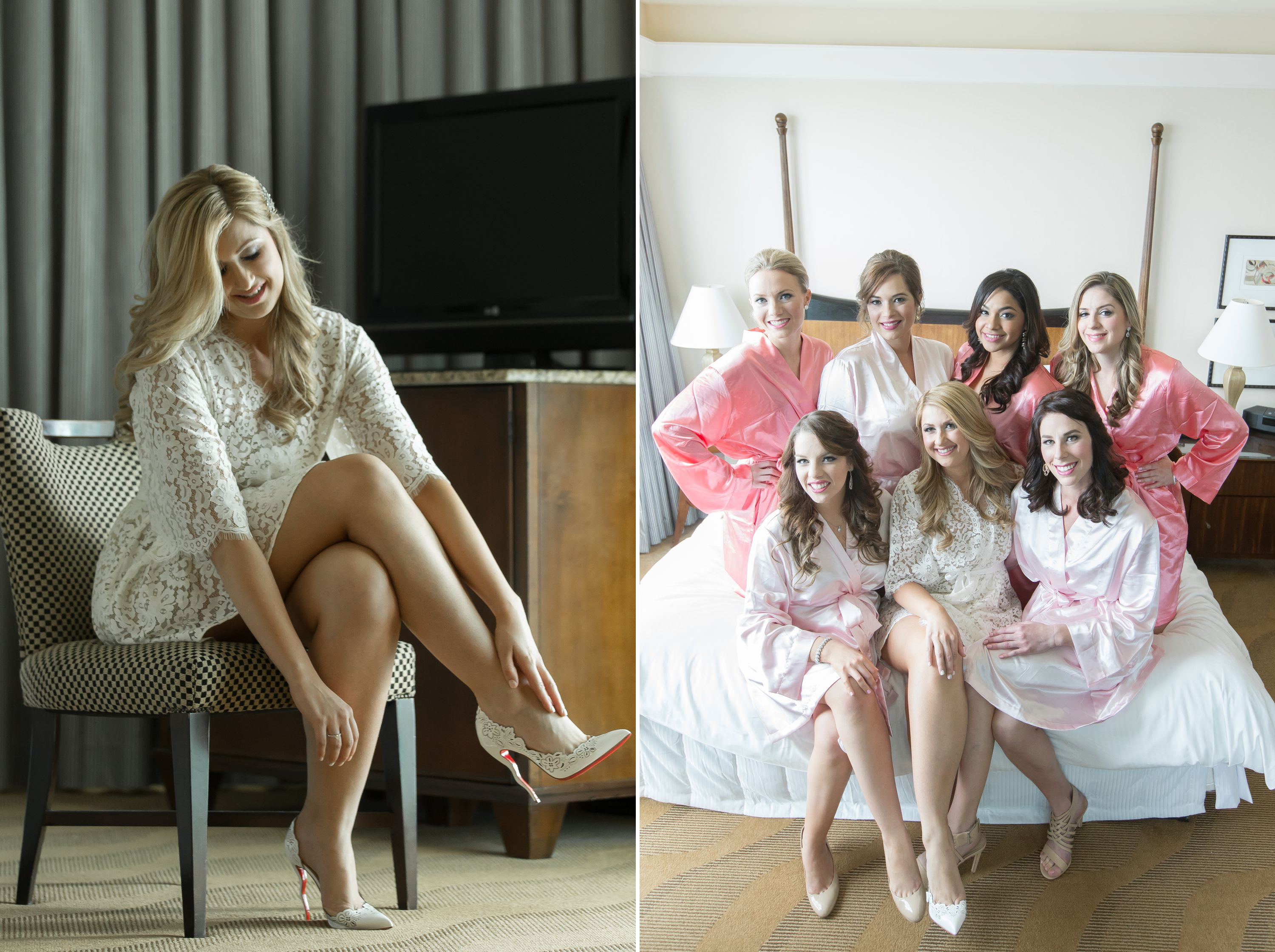 Fun photo of sexy legs and girls together on the bed at a Diplomat Beach Resort Wedding